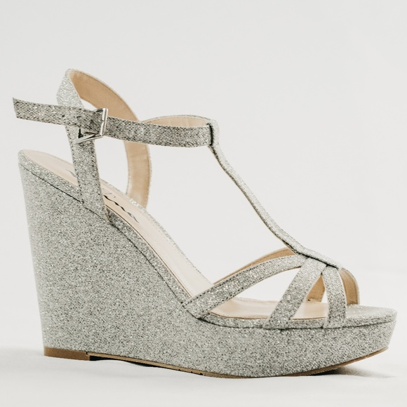 Brand New Strap Silver Wedges Nwt